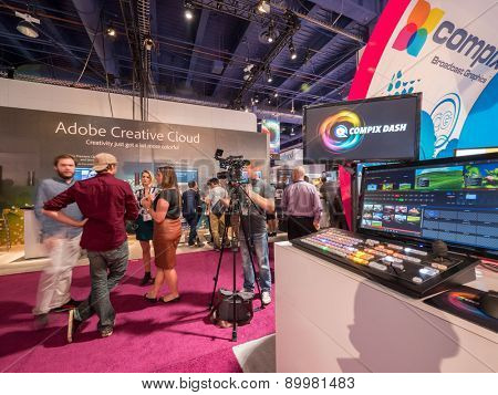 LAS VEGAS, NV - April 15: Compix at NAB Show 2015, an annual trade show by the National Association of Broadcasters.1726 exhibitors on 2000000 sq feet space of Las Vegas Convention Center, April 13-16