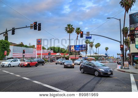 LOS ANGELES - May 06, 2015: Traffic at the intersection of Sunset Boulevard and Laurel Avenue at twilight.