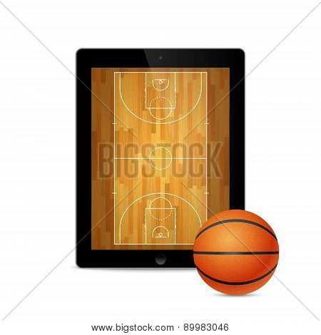 Tablet With Basketball Ball And Court On The Screen.