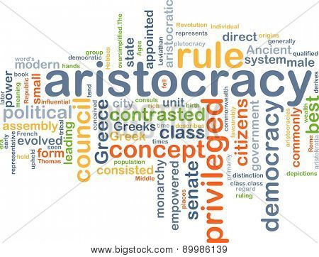 Background text pattern concept wordcloud illustration of aristocracy