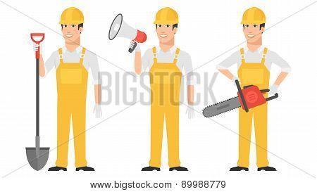 Builder holding shovel megaphone chainsaw