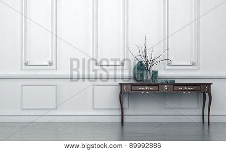 Vintage style console table in a classic living room interior standing against a white wood paneled wall with decorative ceramic vases on top, architectural background with copyspace. 3d Rendering.