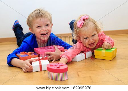 brother and sister rivalry, sorting presents