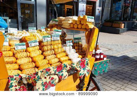 Sales Of Oscypek Cheese At Krupowki In Zakopane