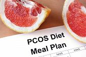Paper with PCOS diet  Meal plan and grapefruit poster