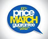 100% price match guarantee speech bubble design. poster
