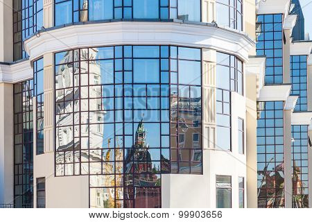 Reflection Of Kremlin Towers In Modern Building