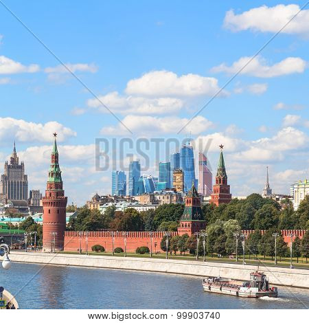 Moscow skyline - view of Kremlin skyscrapers Moscow City district and Moskva River in sunny summer day poster
