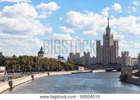 View Of Moskvoretskaya Embankment In Moscow