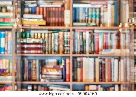 Defocused Background From Books In Bookcase