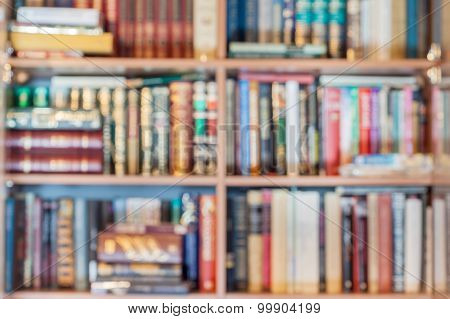 Blurred Background From Books In Bookcase