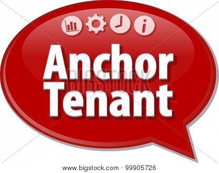Speech bubble dialog illustration of business term saying Anchor Tenant