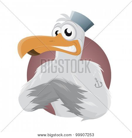 funny cartoon seagull with hat and anchor tattoo