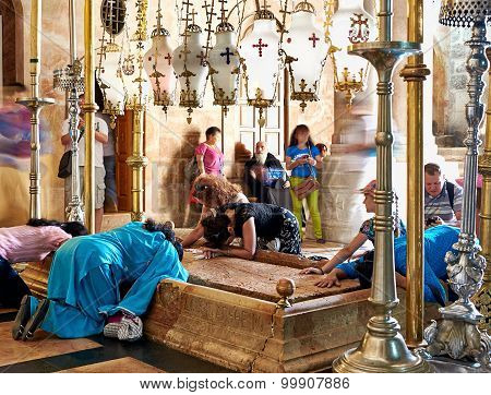 Prayers At The Stone Of Anointing In The Holy Sepulchre Church