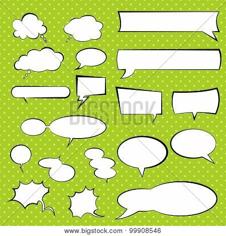 Talking And Thinking Vector Set Bubbles, Comic Speech Balloon