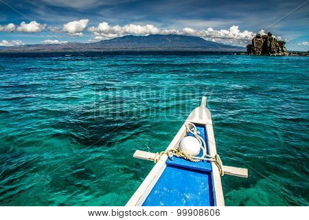 Boat And Tropical Apo Island, Philippines