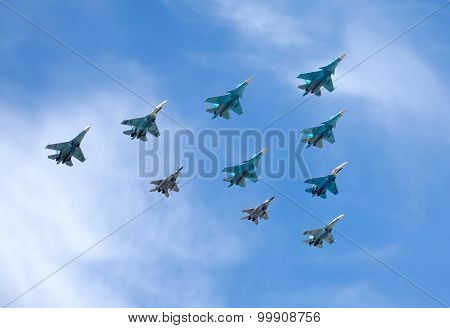 Russian military aircraft fighters SU-2Russian military aircraft fighters in flight against blue sky
