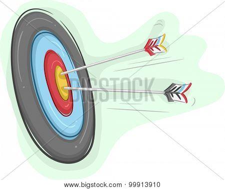 Illustration of Arrows Piercing an Archery Board