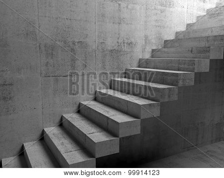 Abstract Concrete Interior With Cantilevered Stairs