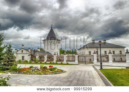 Tobolsk Kremlin courtyard tower panorama menacing sky hdr Russia Siberia Asia poster