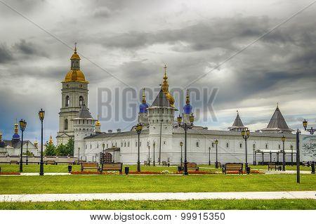 Tobolsk Kremlin View  Gostiny Dvor Menacing Sky  Russia Siberia Asia