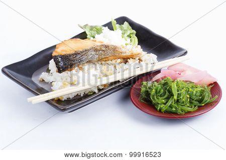 Grilled Salmon Teriyaki With Rice And Chuka Seaweed Salad