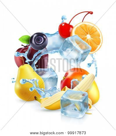 Multifruit with ice cubes and water splash, vector icon