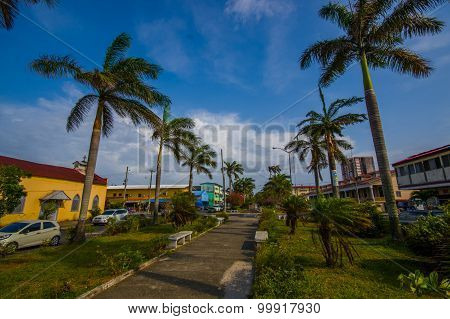 COLON PANAMA - APRIL 14 2015 : Colon is a sea port on the Caribbean Sea coast of Panama. The city lies near the Caribbean Sea entrance to the Panama Canal. poster