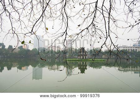 Turtle tower in Sword lake in spring in Hanoi, Vietnam