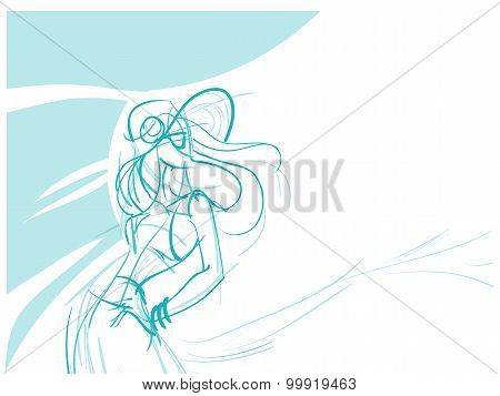 Gesture freehand sketch of young women standing in effective pose. dressed bohemian chic style spring, summer outfit. poster