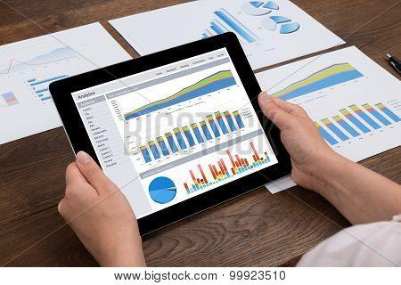 Person Analyzing Financial Statistics On Digital Tablet