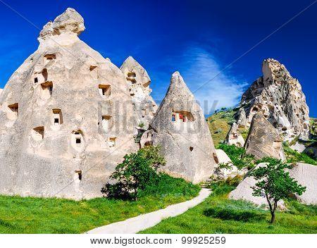Cappadocia Turkey. Amazing Uchisar rock carved fortress in turkish Anatolia in Nevsehir province.