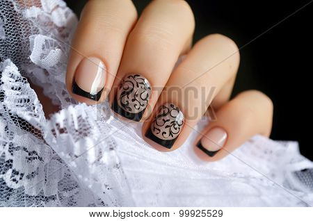 Beautiful black nail art design