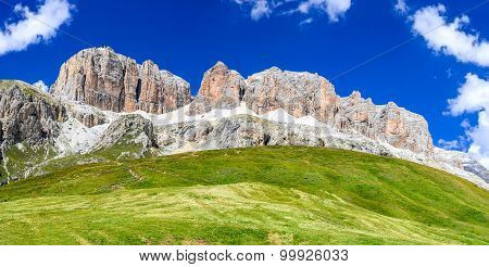 Piz Pordoi Val di Fassa Sella Dolomites in Italy. Sass Pordoi south face (2952 m) in Gruppo del Sella Dolomites mountains in Alps