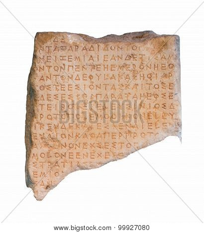 Part of an ancient Greek inscribed stele