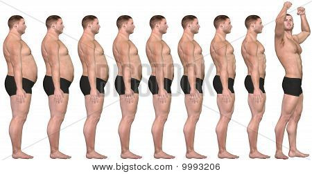 Fat To Fit Before After 3D Man Weight Loss Success