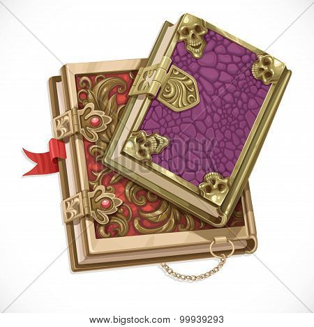 Antique Books On Witchcraft Clasps Top View Isolated On White Ba