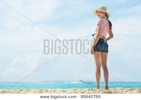 Portrait Of Asia Young Woman Standing On The Beach