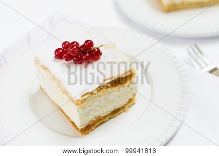 Cream Pie On White Plate