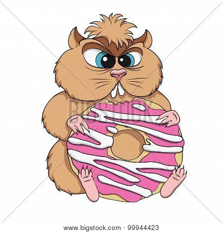 Greedy hamster sits with cookies. Vector illustration.