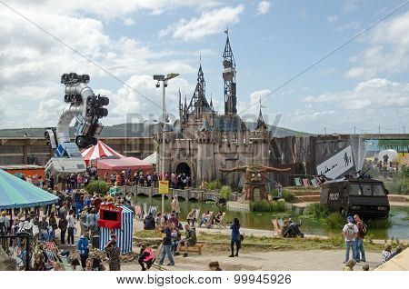 Dismaland Castle And Crowds