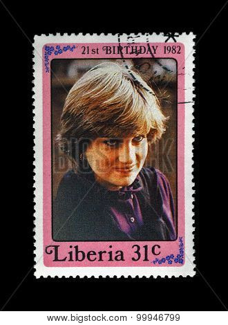 Liberia - Circa 1982: Cancelled Stamp Printed In Liberia Shows 21St Birthday Of Princess Diana, Circ