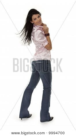Attractive Young Woman In Tight Jeans