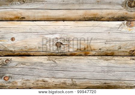 Wooden Wall Of A Loghouse As A Background