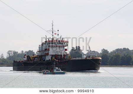 Industrial Ship and Gillnetter, Fraser River