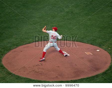 Philadelphia Phillies Joe Blanton Steps Forward To Throw Pitch From Mound