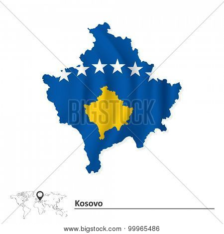 Map of Kosovo with flag - vector illustration poster
