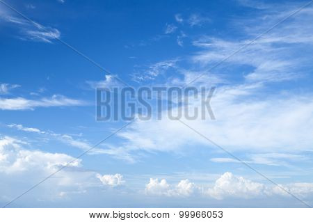 Cirrus And Stratocumulus. Bright Blue Sky