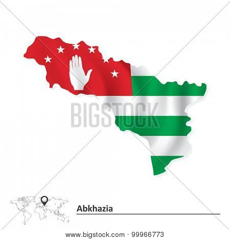 Map of Abkhazia with flag - vector illustration