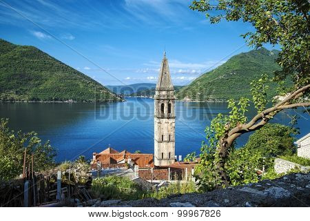 belltower of Perast Village in Kotor Bay, Montenegro